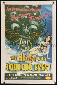 9f031 BEAST WITH 1,000,000 EYES linen 1sh '55 art of monster attacking sexy girl by Albert Kallis!