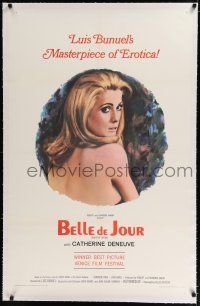 9f032 BELLE DE JOUR linen 1sh '68 Luis Bunuel, close up art of sexy Catherine Deneuve!