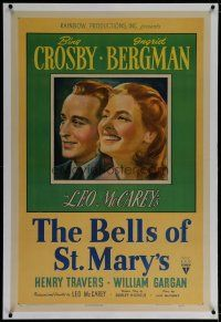 9f033 BELLS OF ST. MARY'S linen 1sh '46 art of smiling pretty Ingrid Bergman & Bing Crosby!