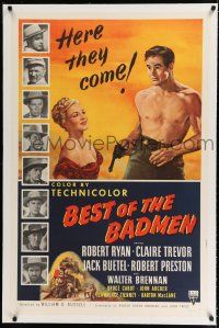 9f034 BEST OF THE BADMEN linen 1sh '51 art of barechested Robert Ryan & sexy Claire Trevor!