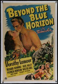 9f035 BEYOND THE BLUE HORIZON linen 1sh '42 artwork of sexy Dorothy Lamour & Richard Denning!