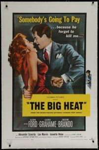 9f036 BIG HEAT linen 1sh R59 great pulp art of Glenn Ford & sexy Gloria Grahame, Fritz Lang noir!