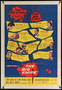 9f037 BIG KNIFE linen 1sh '55 Robert Aldrich, Jack Palance, Ida Lupino, Shelley Winters, Rod Steiger