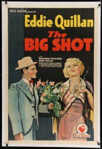 9f038 BIG SHOT linen 1sh '31 art of Eddie Quillan giving flowers to smoking bad girl Mary Nolan!