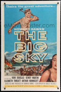9f039 BIG SKY linen 1sh '52 Howard Hawks, art of shirtless Kirk Douglas with hatchet!