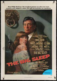 9f040 BIG SLEEP linen 1sh '78 art of Robert Mitchum & sexy Candy Clark by Richard Amsel!