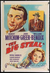 9f041 BIG STEAL linen 1sh '49 art of Robert Mitchum, Jane Greer & William Bendix with gun!