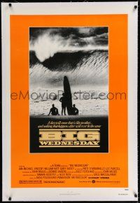 9f042 BIG WEDNESDAY linen 1sh '78 John Milius classic surfing movie, silhouette of surfers on beach!