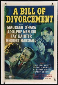 9f043 BILL OF DIVORCEMENT linen 1sh '40 Maureen O'Hara, Adolphe Menjou, Marshall, Bainter, Trumbo