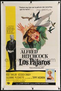 9f044 BIRDS linen Spanish/U.S. 1sh '63 Alfred Hitchcock, Tippi Hedren, classic art of attacking avians!