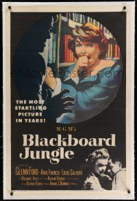 9f045 BLACKBOARD JUNGLE linen 1sh '55 Richard Brooks, art of terrified Margaret Hayes attacked!