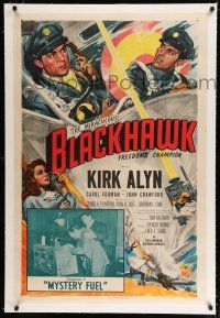 9f046 BLACKHAWK linen chapter 7 1sh '52 D.C. comic book serial, Mystery Fuel, Glenn Cravath art!