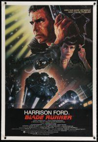 9f047 BLADE RUNNER linen int'l 1sh '82 Ridley Scott sci-fi classic, art of Harrison Ford by Alvin!