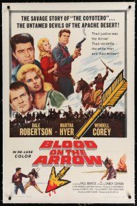 9f049 BLOOD ON THE ARROW linen 1sh '64 Dale Robertson, untamed devils of the Apache desert!