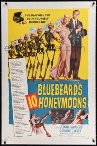9f050 BLUEBEARD'S 10 HONEYMOONS linen 1sh '60 wild art of George Sanders with skeleton brides!