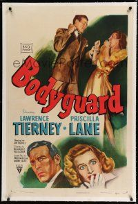 9f051 BODYGUARD linen 1sh '48 art of crazed Lawrence Tierney threatening to slug Priscilla Lane!