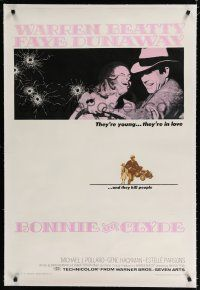 9f052 BONNIE & CLYDE linen 1sh '67 notorious crime duo Warren Beatty & Faye Dunaway, Arthur Penn!
