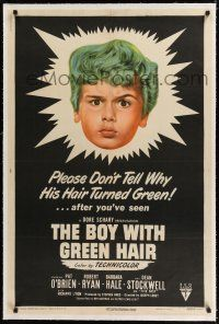 9f056 BOY WITH GREEN HAIR linen 1sh '48 huge headshot of Dean Stockwell, a kid who wants to end war!