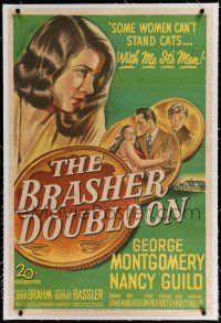 9f057 BRASHER DOUBLOON linen 1sh '47 some women can't stand cats, with her it's men, Chandler noir!