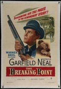 9f058 BREAKING POINT linen 1sh '50 John Garfield, Patricia Neal, from Ernest Hemingway's story!