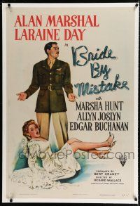 9f059 BRIDE BY MISTAKE linen 1sh '44 soldier Alan Marshal doesn't know Laraine Day is an heiress!