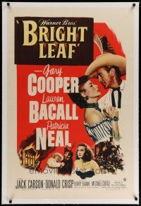 9f060 BRIGHT LEAF linen 1sh '50 great romantic close up of Gary Cooper & sexy Lauren Bacall!