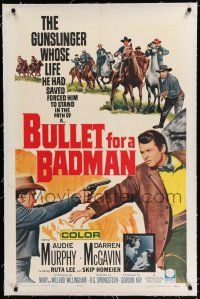 9f061 BULLET FOR A BADMAN linen 1sh '64 cowboy Audie Murphy is framed for murder by Darren McGavin!
