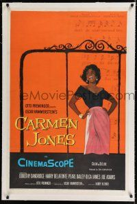 9f063 CARMEN JONES linen 1sh '54 great full-length artwork of sexy Dorothy Dandridge!