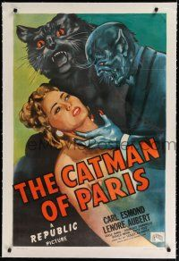 9f065 CATMAN OF PARIS linen 1sh '46 really cool horror art of feline monster attacking sexy girl!