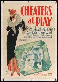 9f067 CHEATERS AT PLAY linen 1sh '32 stone litho of Thomas Meighan & Greenwood in giant emerald!