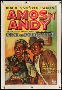 9f068 CHECK & DOUBLE CHECK linen 1sh '30 great art of Amos 'n' Andy in the only movie adaptation!