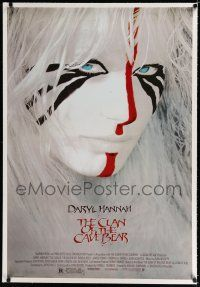 9f071 CLAN OF THE CAVE BEAR linen REPRO 1sh '86 fantastic image of Daryl Hannah in tribal make up!