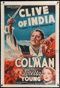 9f072 CLIVE OF INDIA linen int'l 1sh '35 cool art of Ronald Colman with sword, Loretta Young!