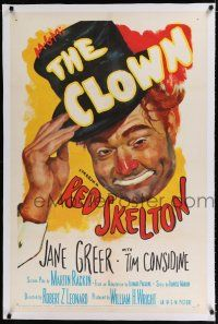 9f073 CLOWN linen 1sh '53 great wacky full-length art portrait of Red Skelton in full make up!