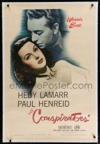 9f075 CONSPIRATORS linen 1sh '44 freedom fighter Paul Henreid falls in love with Hedy Lamarr!
