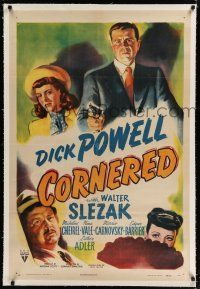 9f076 CORNERED linen 1sh '46 great artwork of Dick Powell pointing gun & Walter Slezak!