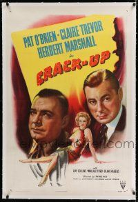 9f077 CRACK-UP linen 1sh '46 Pat O'Brien, sexiest full-length Claire Trevor, Herbert Marshall