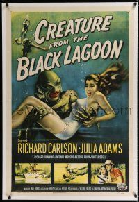 9f078 CREATURE FROM THE BLACK LAGOON linen 1sh '54 art of monster holding sexy Julie Adams!