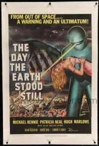 9f086 DAY THE EARTH STOOD STILL linen 1sh '51 Robert Wise, classic art of Gort holding Patricia Neal