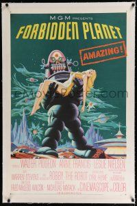 9f109 FORBIDDEN PLANET linen 1sh '56 classic art of Robby the Robot carrying sexy Anne Francis!
