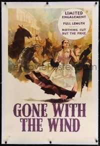9f130 GONE WITH THE WIND linen 1sh '41 great artwork of Scarlet O'Hara fleeing burning Atlanta!