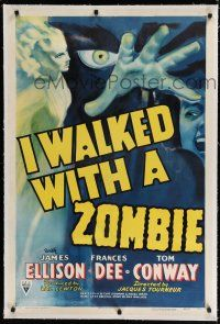 9f158 I WALKED WITH A ZOMBIE linen 1sh '43 classic Lewton & Tourneur, incredible artwork!