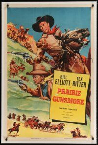 9f263 BILL ELLIOTT/TEX RITTER linen stock 1sh '53 Bill Elliott & Tex Ritter by Cravath, Prairie Gunsmoke