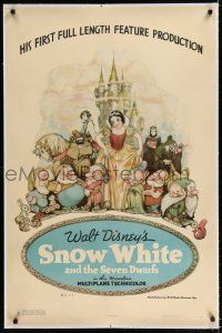 9f313 SNOW WHITE & THE SEVEN DWARFS linen style B 1sh '37 Disney cartoon classic, Tenggren art!