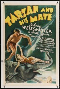 9f332 TARZAN & HIS MATE linen style C 1sh '34 art of Johnny Weissmuller & O'Sullivan on elephant!