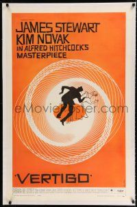 9f362 VERTIGO linen 1sh '58 Hitchcock's best, James Stewart & Kim Novak, wonderful Saul Bass art!