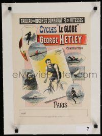 9g028 CYCLES LE GLOBE linen 13x18 French advertising poster 1899 art of George Hetley on bicycle!