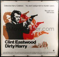 9h120 DIRTY HARRY linen 6sh '71 most classic art of Clint Eastwood with gun & head in motion!