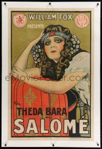 9h094 SALOME linen French 31x47 '21 Emilio Vila art of Theda Bara as Biblical seductress, lost film!