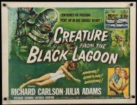 9h153 CREATURE FROM THE BLACK LAGOON style A 1/2sh '54 Reynold Brown art of monster & scuba divers!